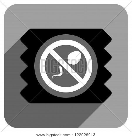 Spermicide Condom long shadow vector icon. Style is a flat spermicide condom iconic symbol on a gray square background.
