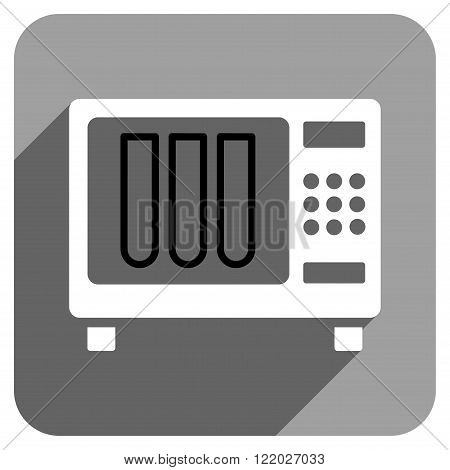 Sterilizer long shadow vector icon. Style is a flat sterilizer iconic symbol on a gray square background.