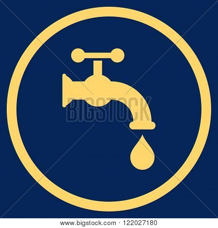 Water Tap vector icon. Style is flat rounded iconic symbol, water tap icon is drawn with yellow color on a blue background.