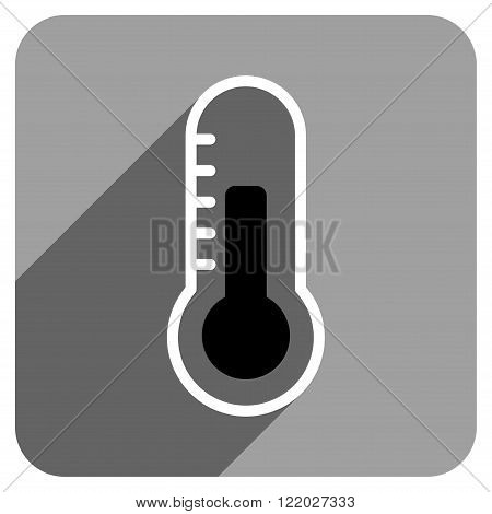 Temperature long shadow vector icon. Style is a flat temperature iconic symbol on a gray square background.