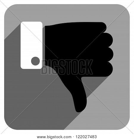 Thumb Down long shadow vector icon. Style is a flat thumb down iconic symbol on a gray square background.