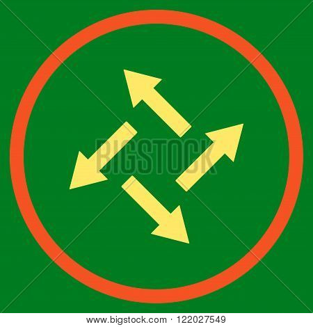 Centrifugal Arrows vector icon. Style is bicolor flat rounded iconic symbol, centrifugal arrows icon is drawn with orange and yellow colors on a green background.