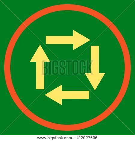 Circulation Arrows vector icon. Style is bicolor flat rounded iconic symbol, circulation arrows icon is drawn with orange and yellow colors on a green background.