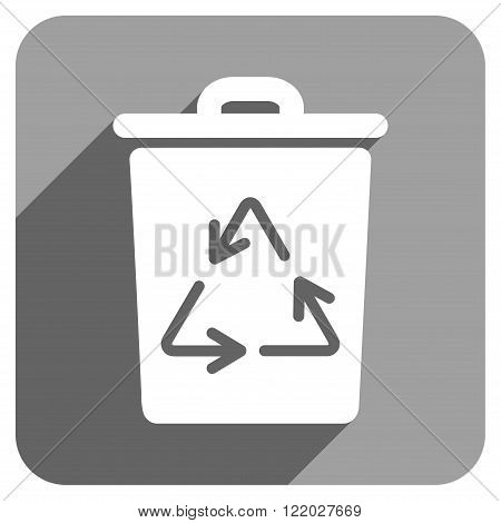 Trash Can long shadow vector icon. Style is a flat trash can iconic symbol on a gray square background.