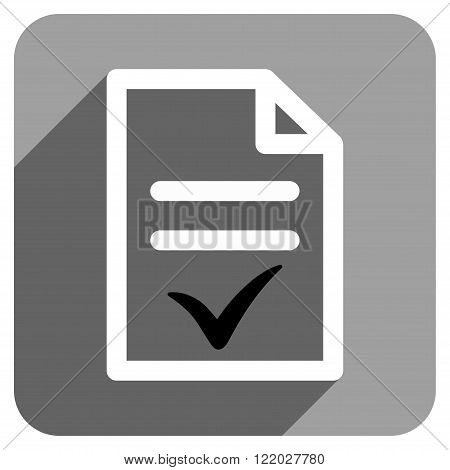 Valid Document long shadow vector icon. Style is a flat valid document iconic symbol on a gray square background.