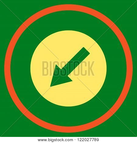 Down-Left Rounded Arrow vector icon. Style is bicolor flat rounded iconic symbol, down-left rounded arrow icon is drawn with orange and yellow colors on a green background.