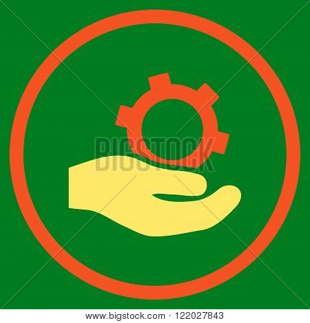 Engineering Service vector icon. Style is bicolor flat rounded iconic symbol, engineering service icon is drawn with orange and yellow colors on a green background.