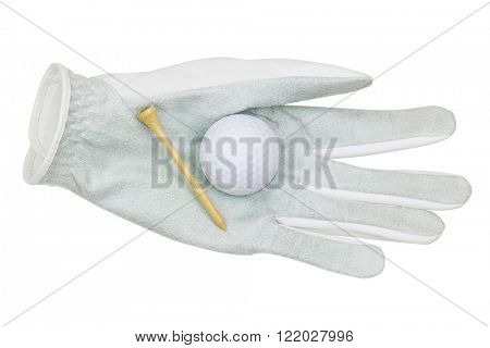 White synthetic microfiber Golf glove with a golf ball and bamboo golf tee on it, isolated on white background