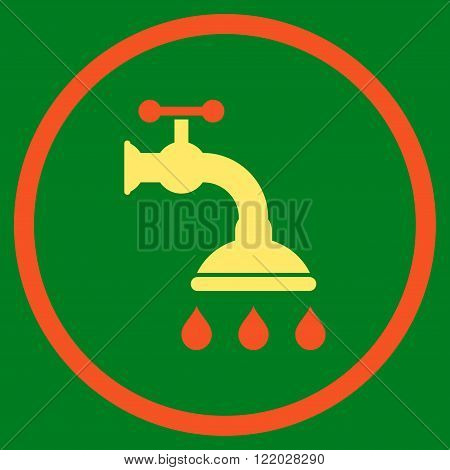 Shower Tap vector icon. Style is bicolor flat rounded iconic symbol, shower tap icon is drawn with orange and yellow colors on a green background.