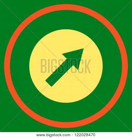 Up-Right Rounded Arrow vector icon. Style is bicolor flat rounded iconic symbol, up-right rounded arrow icon is drawn with orange and yellow colors on a green background.