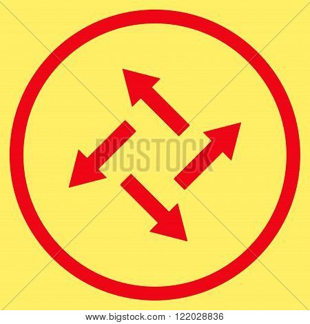 Centrifugal Arrows vector icon. Style is flat rounded iconic symbol, centrifugal arrows icon is drawn with red color on a yellow background.