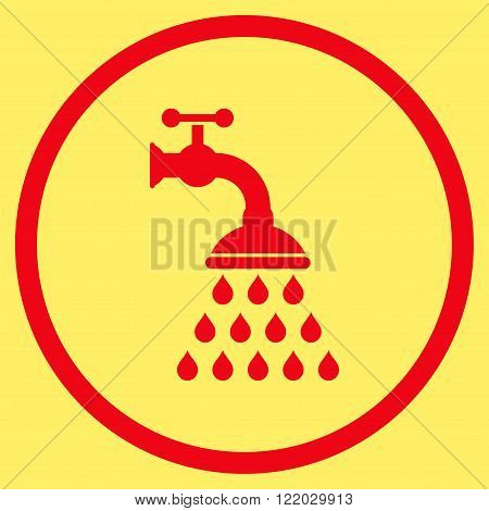 Shower Tap vector icon. Style is flat rounded iconic symbol, shower tap icon is drawn with red color on a yellow background.