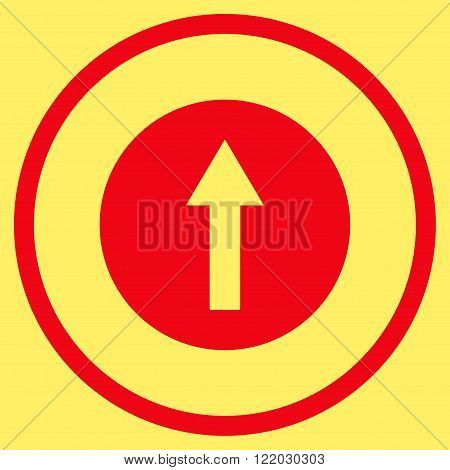 Up Rounded Arrow vector icon. Style is flat rounded iconic symbol, up rounded arrow icon is drawn with red color on a yellow background.