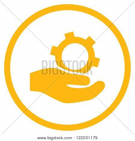Engineering Service vector icon. Style is flat rounded iconic symbol, engineering service icon is drawn with yellow color on a white background.