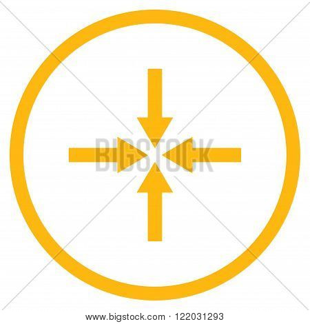 Impact Arrows vector icon. Style is flat rounded iconic symbol, impact arrows icon is drawn with yellow color on a white background.