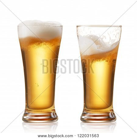 two glasses of beer isolated on white