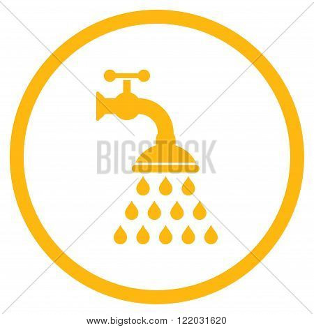 Shower Tap vector icon. Style is flat rounded iconic symbol, shower tap icon is drawn with yellow color on a white background.