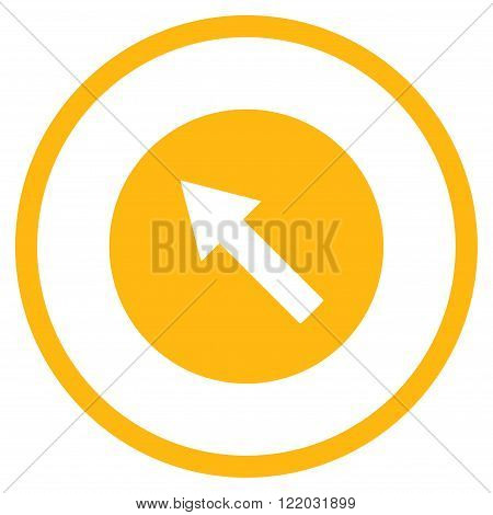 Up-Left Rounded Arrow vector icon. Style is flat rounded iconic symbol, up-left rounded arrow icon is drawn with yellow color on a white background.