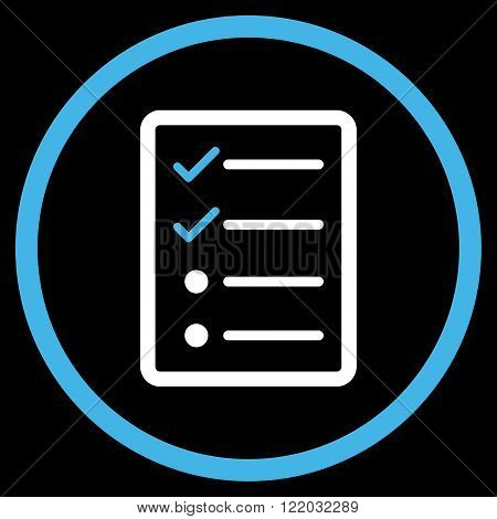 Checklist Page vector icon. Style is bicolor flat rounded iconic symbol, checklist page icon is drawn with blue and white colors on a black background.