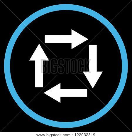 Circulation Arrows vector icon. Style is bicolor flat rounded iconic symbol, circulation arrows icon is drawn with blue and white colors on a black background.
