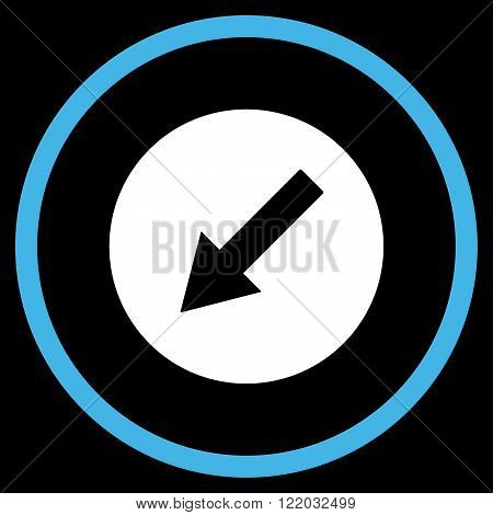 Down-Left Rounded Arrow vector icon. Style is bicolor flat rounded iconic symbol, down-left rounded arrow icon is drawn with blue and white colors on a black background.