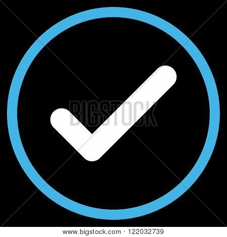 Ok vector icon. Style is bicolor flat rounded iconic symbol, ok icon is drawn with blue and white colors on a black background.