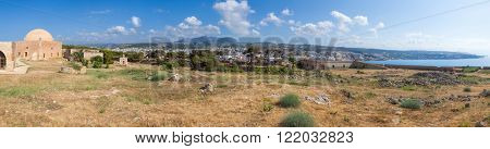 Panoramic view of the Fortezza citadel, Rethymno, Crete, Greece, with Mosque of Sultan Ibrahim on  left and St. Lucas Bastion on right
