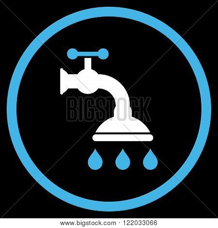 Shower Tap vector icon. Style is bicolor flat rounded iconic symbol, shower tap icon is drawn with blue and white colors on a black background.