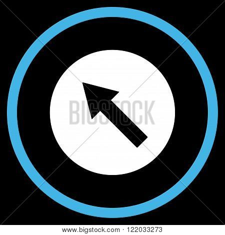 Up-Left Rounded Arrow vector icon. Style is bicolor flat rounded iconic symbol, up-left rounded arrow icon is drawn with blue and white colors on a black background.
