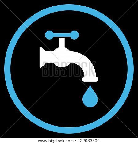 Water Tap vector icon. Style is bicolor flat rounded iconic symbol, water tap icon is drawn with blue and white colors on a black background.
