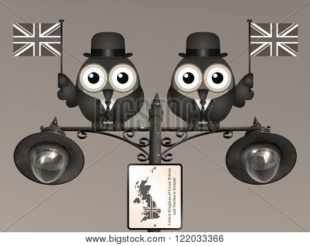 Sepia comical bird businessmen waving the flag for the United Kingdom perched on a lamppost