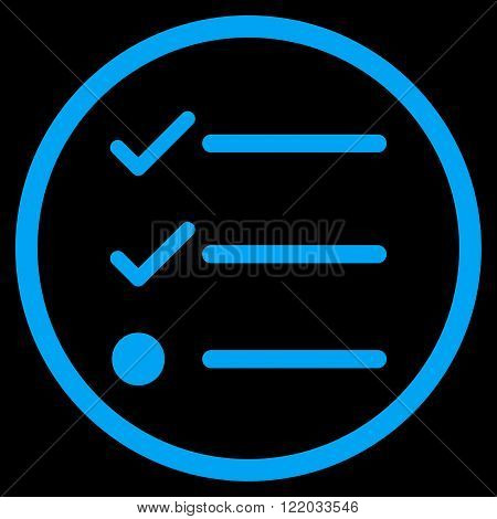 Checklist vector icon. Style is flat rounded iconic symbol, checklist icon is drawn with blue color on a black background.
