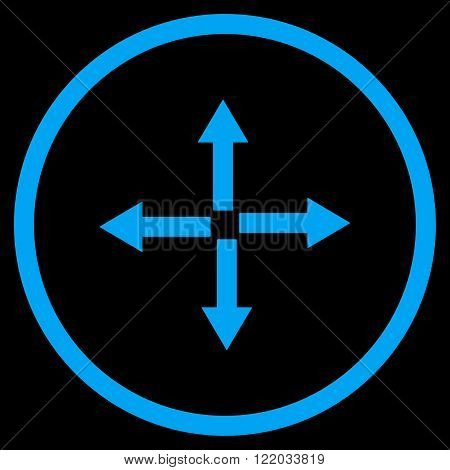 Expand Arrows vector icon. Style is flat rounded iconic symbol, expand arrows icon is drawn with blue color on a black background.