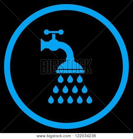 Shower Tap vector icon. Style is flat rounded iconic symbol, shower tap icon is drawn with blue color on a black background.