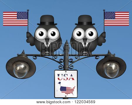 Comical bird businessmen waving the flag for the United States of America perched on a lamppost against a clear blue sky