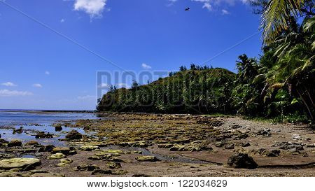 The rocky coast on the south side of Guam