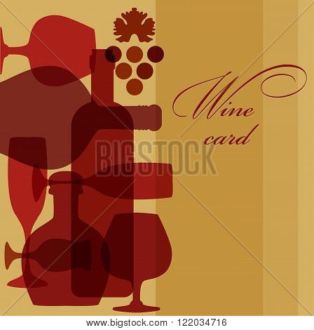 Vector Illustration of wine  bottles and glasses. Wine list design template. wine card.