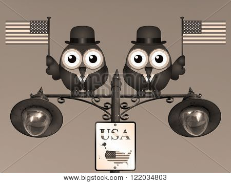 Sepia comical bird businessmen waving the flag for the United States of America perched on a lamppost