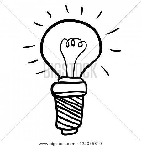 simple black and white freehand drawn cartoon lightbulb