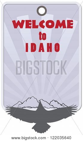 Stylish label for Idaho United States. Label Welcome to Idaho.