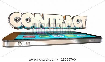 Contract Cell Mobile Phone 3D Word Service Data Plan