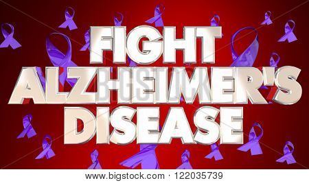 Fight Alzheimers Disease Awareness Ribbons Fundraiser 3D Words