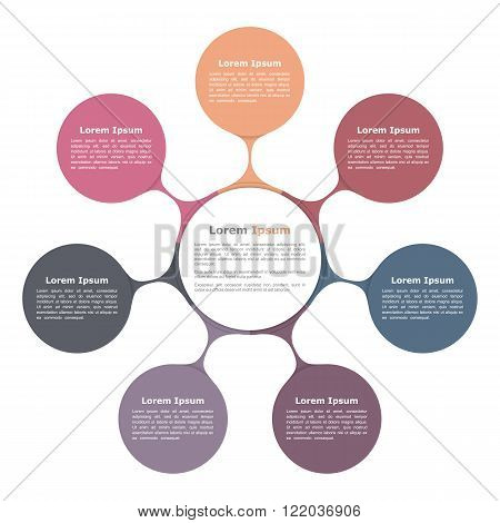 Circle flow chart with seven elements, infographic template, vector eps10 illustration