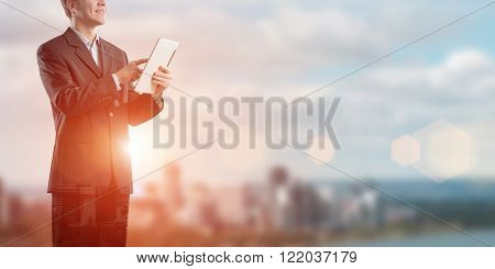 Businessman use tablet pc