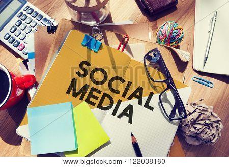 Stationary Office Desk Messy Social Media Network Concept