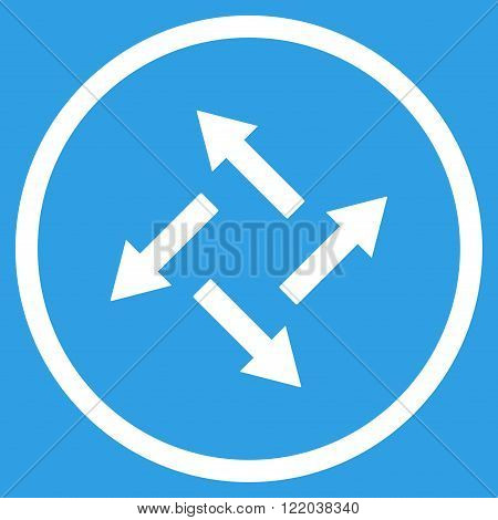 Centrifugal Arrows vector icon. Style is flat rounded iconic symbol, centrifugal arrows icon is drawn with white color on a blue background.