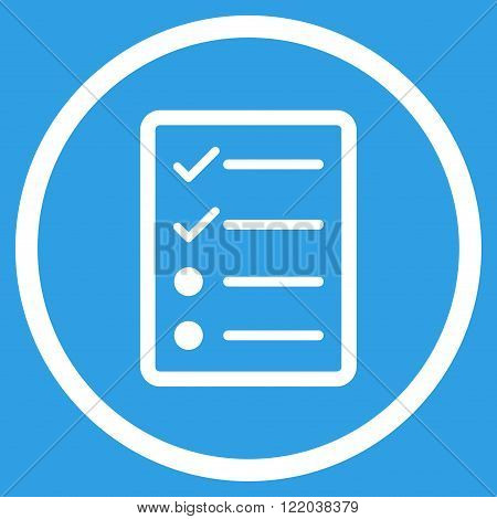 Checklist Page vector icon. Style is flat rounded iconic symbol, checklist page icon is drawn with white color on a blue background.