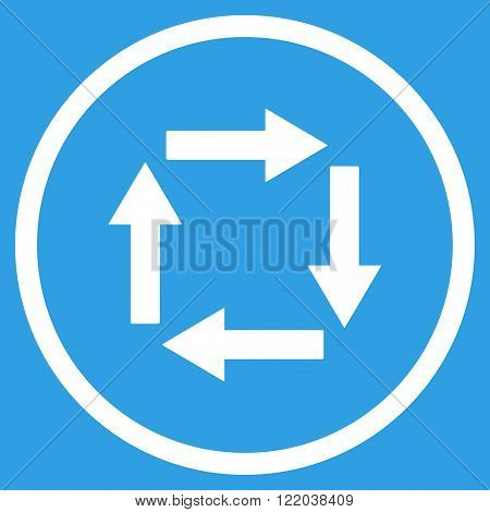 Circulation Arrows vector icon. Style is flat rounded iconic symbol, circulation arrows icon is drawn with white color on a blue background.