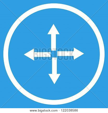 Expand Arrows vector icon. Style is flat rounded iconic symbol, expand arrows icon is drawn with white color on a blue background.