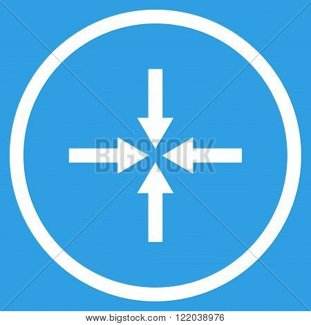 Impact Arrows vector icon. Style is flat rounded iconic symbol, impact arrows icon is drawn with white color on a blue background.